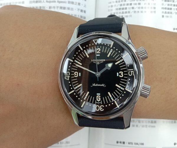 台中流當品拍賣 二手極新 原裝 LONGINES 浪琴 不鏽鋼 自動 潛水錶 男錶 喜歡價可議 ZR508