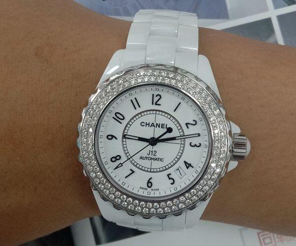 台中流當品拍賣 原裝 CHANEL J12 38mm 陶瓷 鑽圈 自動 女錶 9成5新 特價出清 ZR513
